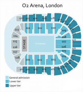 Genesis O2 Arena seating plan